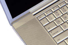Laptop. Silver / white, close-up, black screen Stock Photo