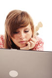 Laptop. Portrait of a styled teen. Theme: teens, education, fashion Royalty Free Stock Photo