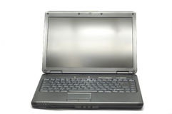 Laptop. Black laptop open in a white background Royalty Free Stock Photos