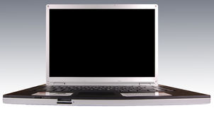 Laptop. Silver laptop with black monitor royalty free stock photo