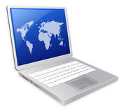 LAPTOP. With world map illustration Royalty Free Stock Images