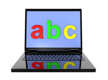 Laptop with ABC letters on the screen. Isolated over white stock illustration