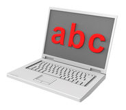 Laptop with ABC letters on the screen Royalty Free Stock Images