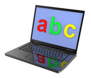 Laptop with ABC letters on the screen Stock Photo