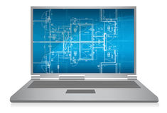 Laptop with abstract architectural blueprint Stock Image