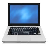 Laptop with abstract background on the screen. 3D render of a silver unibody laptop from the front Stock Photography