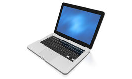 Laptop with abstract background on the screen. 3D render of a silver unibody laptop with abstract blue screen Royalty Free Stock Photo