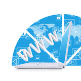 Laptop on the abstract background. White laptop on the abstract background. Computer technology concept royalty free illustration