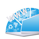 Laptop on the abstract background. White laptop on the abstract background. Computer technology concept vector illustration