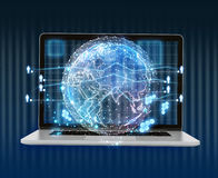 Laptop and abstract digital world map of the global telecommunications network Stock Photo