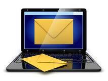 Laptop and abstract e-mail Royalty Free Stock Photo