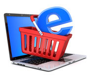 Laptop and abstract e-shop Royalty Free Stock Photography