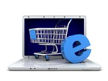 Laptop and abstract e-shop Stock Photography