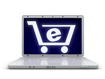 Laptop and abstract e-shop Stock Photo