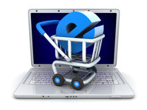 Laptop and abstract e-shop Stock Images