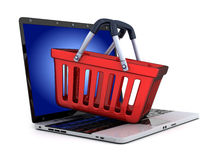Laptop and abstract e-shop Stock Photos
