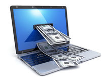 Laptop and abstract money Royalty Free Stock Photo