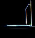 Laptop abstract pictogram op zwarte achtergrond Royalty-vrije Stock Foto's