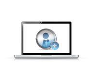 Laptop Add a Friend icon illustration design. Over a white background Stock Photography