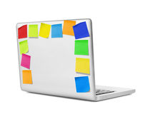 Laptop with adhesive notes Royalty Free Stock Image