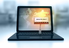 Laptop with Adult Only Button. 3d render of Adult Only Concept Stock Photos
