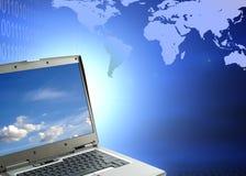 Laptop against binary code Stock Photos