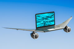 Laptop with airplane wings, turbo boost concept. 3D rendering. Laptop with airplane wings, turbo boost concept. 3D Royalty Free Stock Photography