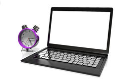 Laptop and alarm clock, 3D illustration Royalty Free Stock Photo