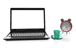 Laptop and alarm clock, 3D illustration Stock Images