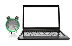 Laptop and alarm clock, 3D illustration. Alarm clock, laptop and cup of hot thea on table Royalty Free Stock Image