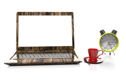 Laptop and alarm clock, 3D illustration. Alarm clock, laptop and cup of hot thea on table Royalty Free Stock Photography
