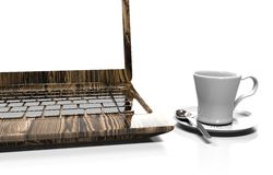 Laptop and alarm clock, 3D illustration. Alarm clock, laptop and cup of hot thea on table Stock Images