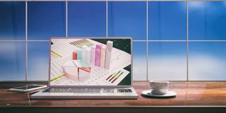 Laptop with analysis report screen on desk. Blurred sky background. 3d illustration. Laptop with stat bars screen and silver color  placed on a wooden desk. Room Royalty Free Stock Photo