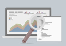 Laptop Analyzing data. Minimalistic illustration of a laptop with data sheet and magnifiying glass, data analyzing concept Stock Photos