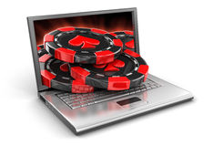 Laptop And Casino Chips (clipping Path Included) Royalty Free Stock Image