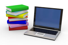 Laptop And Stack Of Books Stock Photography
