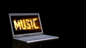 Laptop with animated musical text on the screen and light beams, stock footage. Video vector illustration