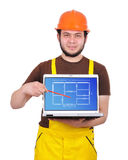 Laptop with apartment plan Royalty Free Stock Photography
