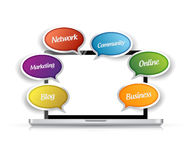 Laptop and app message tools illustration Stock Photos