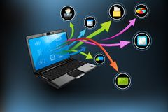 Laptop Application. Illustration of application coming out of laptop on abstract  background Royalty Free Stock Photo