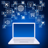 Laptop and application icons Royalty Free Stock Photo