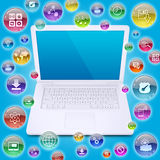 Laptop and application icons Stock Photography