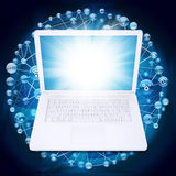 Laptop and application icons Royalty Free Stock Photos
