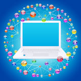 Laptop and application icons Stock Images