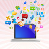 Laptop and apps Royalty Free Stock Photo