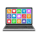 Laptop with apps icons Royalty Free Stock Photography