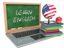Laptop Aprenda el concepto inglés Fondo blanco aislado stock de ilustración