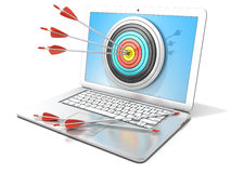 Laptop with archery target and red arrows in the center. Concept of search engine optimization - SEO. Laptop with archery target and red arrows in the center. 3D Royalty Free Stock Photography