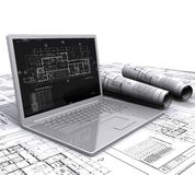 Laptop architectural plans Royalty Free Stock Photography