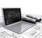 Laptop architecturale plannen Royalty-vrije Stock Fotografie